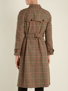 Prada Leather-trimmed checked trench coat