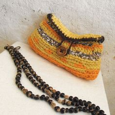 Indian summer crochet purse upcycled por MammaEarthCreations