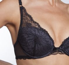 Chantelle Opera Padded Push Bra in Black, All over French Lace. Low cut & uplifting with removable pads.