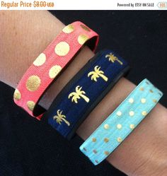 ON SALE - Elastic Bands for Fitbit Flex, Charge, ChargeHR, Set/3: Tropical Orange Gold Dots (Do02), Navy/Gold Palm Tree (Pt01), Aqua/Gold Do by BananaWindDesign on Etsy