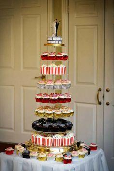 Movie/film themed wedding cake and cupcakes at Headlam Hall, Darlington. Emma Warley Photography - Alternative Wedding Photography in Scarborough, Yorkshire UK.