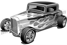 Hot Rod Drawing | 1932 ford three window coupe with flames clipart, buy two images, get one image free