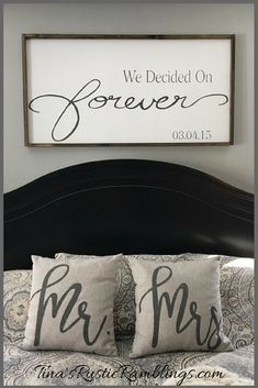 Wedding Gifts Large Wooden Sign / We Decided on Forever / Master bedroom Sign / Over the bed signs / personalized Sign / Wedding gift Bedroom Signs, Home Bedroom, Bedroom Decor, Bedroom Ideas, Master Bedrooms, Rustic Master Bedroom, Master Suite, Bedroom Quotes, Bedroom Furniture