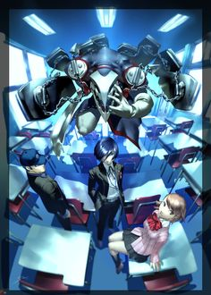 Persona Thanatos, Junpei, Minato and Yukari