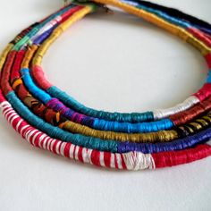 Chieftain-Fiber Art Rope and Bead Tribal Statement Necklace Confetti Multi made by Rachel Anderson