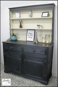 Excited to share this item from my shop: Hand Painted Oak Welsh Dresser.Annie Sloan Graphite + Old Ochre Black Painted Dressers, Annie Sloan Painted Furniture, Dresser In Living Room, Kitchen Dresser, Welsh Dresser For Sale, Shabby Chic Chalk Paint, My Furniture, Furniture Makeover, Oak Table And Chairs