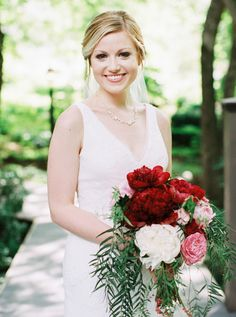 Romantic pink & red bouquet: http://www.stylemepretty.com/virginia-weddings/2015/08/11/romantic-summer-wedding-at-the-mill-at-fine-creek/ | Photography: Matoli Keely - matolikeelyphotography.com