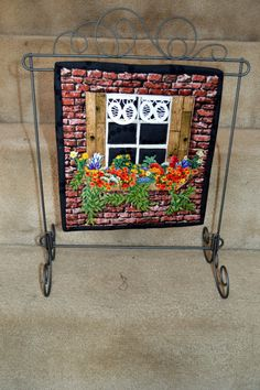 Items similar to Quilted Window Wall Hanging on Etsy Small Quilt Projects, Quilting Projects, Sewing Projects, Art Quilting, Quilt Art, Quilting Ideas, Hanging Quilts, Quilted Wall Hangings, Small Quilts