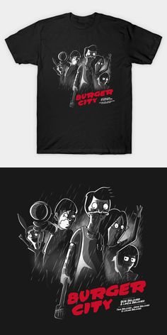 Bob's Burgers Sin City T Shirt. The Belcher family depicted in the style of the neo-noir movie poster. I love this highly creative and original design. Belcher Family, Bobs Burgers, Movie T Shirts, Sin City, Hoodies, My Love, Creative, Mens Tops, Poster
