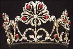 Lotus-motif diamond and ruby tiara, bridal gift for Marie Alexandrove, daughter of Tsar Alexander II of Russia.