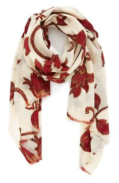 Free shipping and returns on Lucky Brand 'Floral Vine' Wool Scarf at Nordstrom.com. Contrast embroidery highlights the vintage floral patterns of a lightweight, fringe-trimmed wool scarf.
