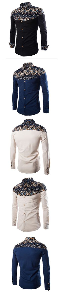 Fashion Men Ethnic Pattern Printed Shirt Long Sleeve Slim Lapel Shirt Gentleman Business Top