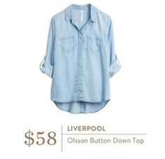 Stitch Fix Stylist i need a great go to flattering sexy light denim soft denim button down haven't ever found the perfect one yet! - Liverpool Olsson Button Down Top - Stitch Fix Chambray Top, Denim Top, Denim Shirt, Chambray Shirts, Mommy Style, Style Me, Cute Stitch, Stitch Fix Fall, Stitch Fix Outfits