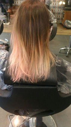 Blond ombre with pink ends
