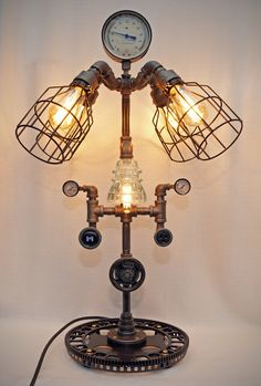 35 Steampunk Industrial Iron Pipe Lamp with by SteveGallagherLamps
