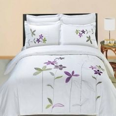 5pc Hotel Style Purple White Embroidered Duvet Cover Set  - Beautiful classic look #white bedding #white duvet cover