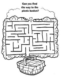 Teddy Bear Picnic Preschool Ideas maze to picnic basket