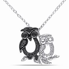 black dark blue and silver 18 inch necklace with owl pendant attached