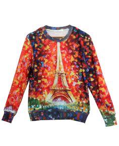 Orange Long Sleeve Eiffel Tower Print Sweatshirt - Fashion Clothing, Latest Street Fashion At Abaday.com