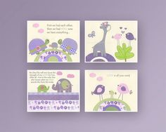 Baby girl Room Decor, Nursery wall Art prints, set of 4 8x10..match LuLu by Sweet Potato and carters elephant patches, lavender and green