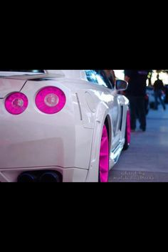White and pink detail; pink rims and love this pink taillights