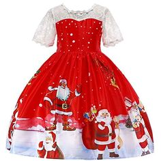FEITONG Toddler Kids Baby Girls Trumpet Sleeve Christmas Striped Santa Print Princess Dresses Clothes