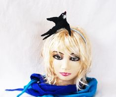 Hand felted from Norwegian wool. Swallow Bird, Felt Birds, Very Lovely, Headband Hairstyles, Hair Accessory, Wool Sweaters, Hair Pieces, Girl Gifts, Hair Band