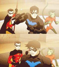 Nightwing in Charge ~ Young Justice Jesse Mcartney as Dick Grayson, Robin, And Nightwing=❤❤❤❤❤ and that hair flip tho Young Justice Invasion, Young Justice League, I Am Batman, Batman Robin, Nightwing, Digimon, Cartoon Network, Robin Dc, Wally West