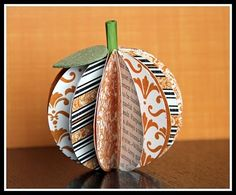 Scrapbook pumpkin made from 14 paper circles