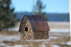 Stone Cottage Bird House brown and blue stone by LehnersBirdhouses, $39.00