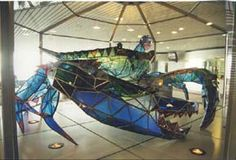 Stained-glass blue crab, by Jackie Leatherbury Douglass, Baltimore-Washington International (BWI) Airport (upper level), Maryland
