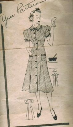 Princess-seamed waitress uniform, vintage pattern, circa 1930s.  Just add a cute apron and a glass coffeepot!