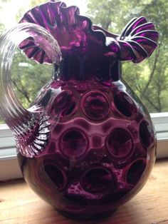 Vintage Fenton Large Amethyst Glass Coin Dot Optic Pitcher Rare, a little over the top. Purple Love, All Things Purple, Purple Glass, Shades Of Purple, Periwinkle, Deep Purple, Fenton Glassware, Antique Glassware, Cut Glass