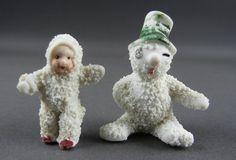Two Antique Snowbabies Miniature Dolls Snowman German | eBay
