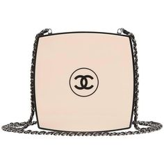 Preowned Chanel White Compact Powder Minaudiere found on Polyvore featuring bags, handbags, clutches, chanel, white, chanel clutches, chanel purses, genuine leather handbags and white clutches