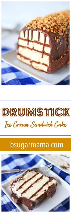 This Drumstick Ice Cream Sandwich Cake is the cake of the summer! This cake recipe requires no baking and is filled layers of ice cream sandwiches, ice cream, and topped with Magic Chocolate Shell Coating. f ourse we can't forget the chopped nuts and toffee bits! Try this no bake ice cream cake and share with your friends and family. #chocolate #icecream #nobake #icecreamcake #drumstickcake