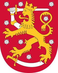 Coat of arms of Finland. The coat of arms of Finland is a crowned lion on a red field, the right foreleg replaced with an armoured hand brandishing a sword, trampling on a sabre with the hindpaws. The coat of arms was originally created around the year 1580. (V)