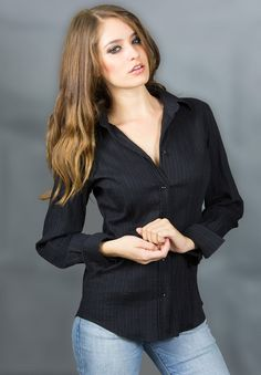 https://www.cityblis.com/7734/item/16130 | Valentina black stretch shirt - $115 by Camixa Shirts | Menswear details and ribbed slim fit make this Italian made blouse a versatile, always flattering choice, whether you're going in to the office or out on the town.  This elegant fitted shirt, based on bestselling fitted body shape, flatters your figure.  Key Features: • 75% Cotton, 21... | #Tops/Blouses