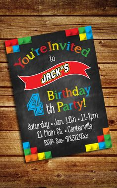 Lego Movie Invitation ; Lego Invitation ; Customized Digital File by LuckyLittlePrints on Etsy https://www.etsy.com/listing/217340135/lego-movie-invitation-lego-invitation
