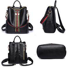 Retro Green Red Stripe Double Zipper Girl's PU Multifunction Handbag Shoulder Bag School Backpack
