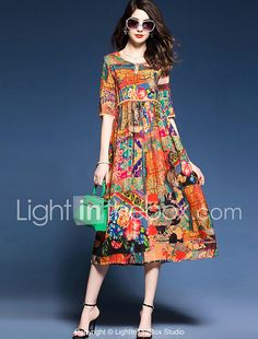 Women's Beach Holiday Plus Size Simple Chinoiserie Sophisticated Chinese Style D. - - Women's Beach Holiday Plus Size Simple Chinoiserie Sophisticated Chinese Style Dress Source by DeeRondero Women's A Line Dresses, Half Sleeve Dresses, Women's Dresses, Dresses Online, Casual Dresses, Fashion Dresses, Half Sleeves, Work Dresses, Evening Dresses