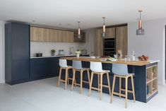 Create the perfect modern scandi kitchen by mixing blue and textured wood finishes. Pictured Hampton Oxford Blue with Madoc Mayfield Oak. Open Plan Kitchen Living Room, Kitchen Room Design, Kitchen Colors, Kitchen Interior, New Kitchen, Kitchen Decor, Kitchen Cupboard, Kitchen Ideas, Kitchen Cabinets
