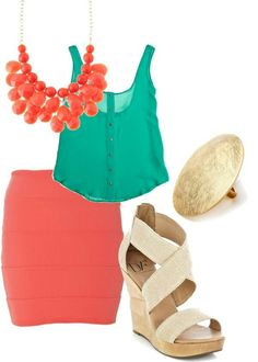 Bright turquoise and corals. Love the nude shoes as a compliment.