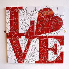 'love' heart mosaic wall art by Mosaic Wall Art, Mirror Mosaic, Mosaic Glass, Mosaic Tiles, Glass Art, Mosaics, Mosaic Crafts, Mosaic Projects, Mosaic Designs