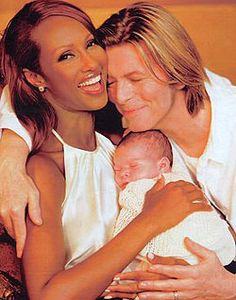 """David Bowie nee Jones, wife Iman nee Abdulmajid, and their daughter Alexandria """"Lexie"""" Jones. Bowie died Jan 2016 at age 69 from 18 month battle with liver cancer. Both Iman and Bowie have children by previous marriages. Angela Bowie, Debbie Harry, Beatles, Iman And David Bowie, Iman Bowie, Duncan Jones, Two Blondes, The Thin White Duke, Black White"""