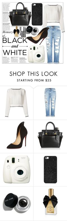In memory of Black&White by tween-weekly on Polyvore featuring Theory, Genetic Denim, Christian Louboutin, Reed Krakoff, BaubleBar, Bobbi Brown Cosmetics, Fuji, white and black