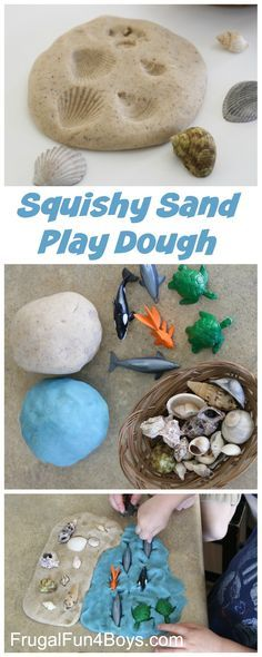 How to Make Squishy Sand Play Dough - Awesome for beach pretend play, making prints with shells, etc.