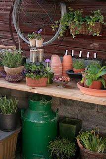 potting bench in spring