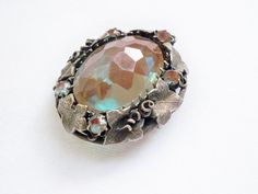 ANTIQUE VICTORIAN SAPHIRET GLASS BROOCH PIN ~ LARGE STONE