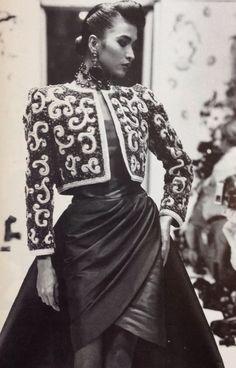 Givenchy Haute Couture- A/W 1987-88 Lesage embroidered cropped bolero matador jacket. L'officiel No.734- September 1987